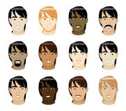Straight Hair Men Faces. Vector Illustration of 12 different long Straight Hair Men Faces Royalty Free Stock Photography
