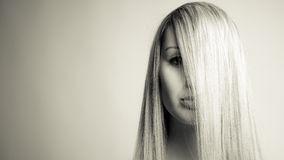 Straight hair perfect beauty Stock Image