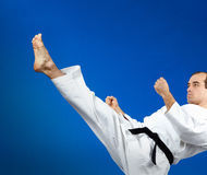 Straight kick in perfoming adult athlete. Straight kick in perfoming adult sportsman Royalty Free Stock Image