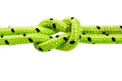 Straight knot used on the sea and in climbing. Straight knot is used to tie two ropes of the same thickness, at sea and in rock climbing stock images