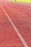 Straight lanes of running track Stock Photography