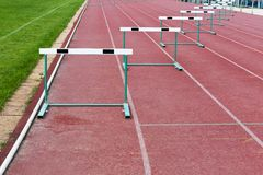 Straight lanes of running track Stock Images