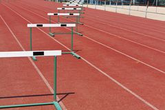 Straight lanes of running track Royalty Free Stock Images
