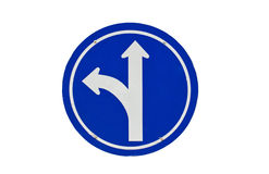 Straight Or Left Turn Ahead, Traffic Lane Route Direction. Stock Photography