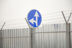 Straight and left turn sign Royalty Free Stock Photography