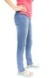 Straight Leg Jeans. Little Girls Straight Leg Jeans stock photo