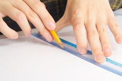 Straight line. Hands drawing straight line sketch Royalty Free Stock Photography