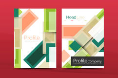 Straight lines geometric business report templates. Vector abstract background set Stock Images