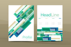Straight lines geometric business report templates. Vector abstract background set Stock Image