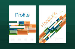 Straight lines geometric business report templates. Vector abstract background set Royalty Free Stock Image