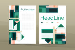 Straight lines geometric business report templates. Vector abstract background set Royalty Free Stock Photography