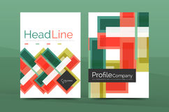 Straight lines geometric business report templates Royalty Free Stock Photos