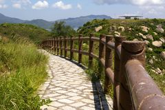Straight path in a hiking trail. Can be used for background Royalty Free Stock Photos