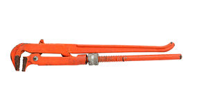 Straight pipe wrench on white background, isolate Stock Photo