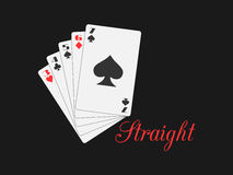 Straight playing cards. Poker hand. Vector. Illustration Stock Images