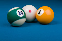 Straight pool 14.1 composition Stock Images