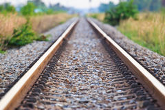 Straight railroad track Stock Photo