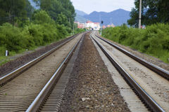 Straight railroad tracks Royalty Free Stock Photo