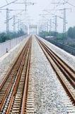 Straight railway and bridge. No train Royalty Free Stock Image