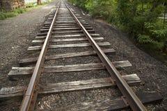 Straight railway line. Abandoned straight railway line in Pennsylvania Stock Image