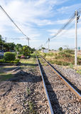 Straight railway line Royalty Free Stock Images