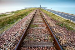 Straight railway perspective Stock Photo