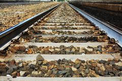 Straight railway track Stock Image