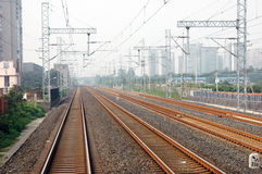 Straight Railway Tracks Stock Images