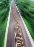 Straight Railway Tracks. Straight Tracks, passthrough the forest , Public Transportation Stock Image