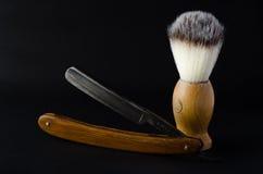 Straight razor with brush. Oldschool Stock Images