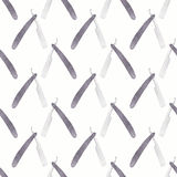 Straight razor. Seamless watercolor pattern with Stock Photography