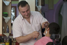 Straight Razor Shave. A barber  doing a straight  razor shave in Turkey Royalty Free Stock Images