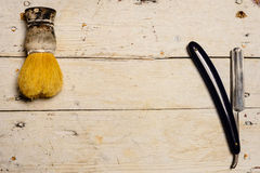 Straight Razor and shaving supplies Stock Photography