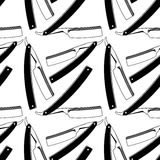 Straight razors. Seamless pattern with shaving tools Royalty Free Stock Photos