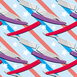 Straight razors. Seamless pattern with shaving tools. Raster clip art Stock Photos