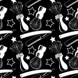 Straight razors and shaving brushes. Seamless pattern with shavi Stock Photos