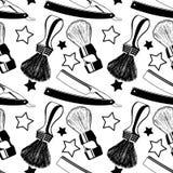 Straight razors and shaving brushes. Seamless pattern with shavi Stock Image