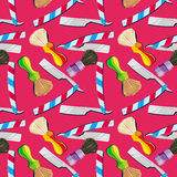 Straight razors and shaving brushes. Seamless pattern with shavi Stock Images