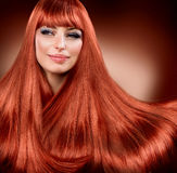 Straight Read Hair Royalty Free Stock Photography