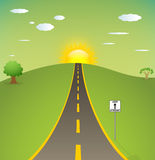 Straight road. Illustration of one way road. Sunrise Royalty Free Stock Photos