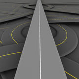 Straight road. One road running clear and straight over complicated tangled and jumbled network of other roads at the lower level, concept of vip access, special Stock Images