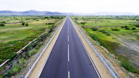 Straight road from above Stock Images