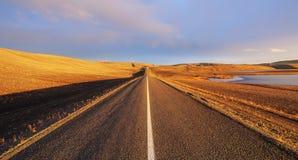 Straight road across the desert Stock Image
