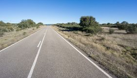 Straight road with blue sky Stock Photography
