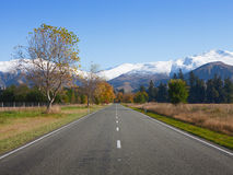 Straight road. In Canterbury region, NZ Stock Images