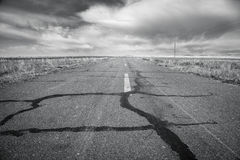 Straight road in china. black and white tone. Retro monochrome color style royalty free stock photography