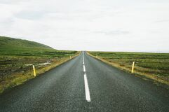 Straight road in the countryside Stock Photos