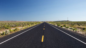 Straight road in the desert Stock Photography