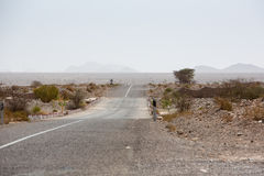 Straight road through the desert in Morocco, Africa Stock Photography