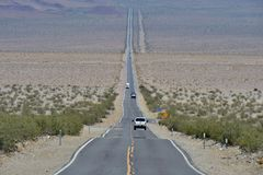 Straight road in desert. Straight road on desert landscape on Route 66, USA Royalty Free Stock Photo